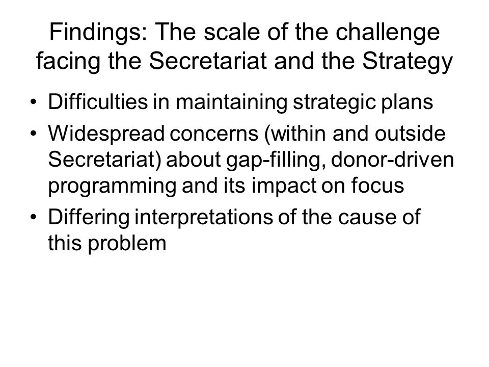 Findings: The scale of the challenge facing the Secretariat and the Strategy Difficulties in maintaining strategic plans Widespread concerns (within a