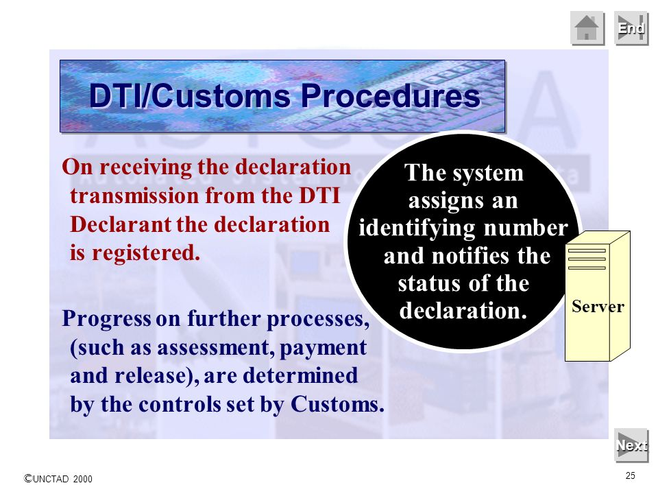 © UNCTAD 2000 25 End On receiving the declaration transmission from the DTI Declarant the declaration is registered. Progress on further processes, (s