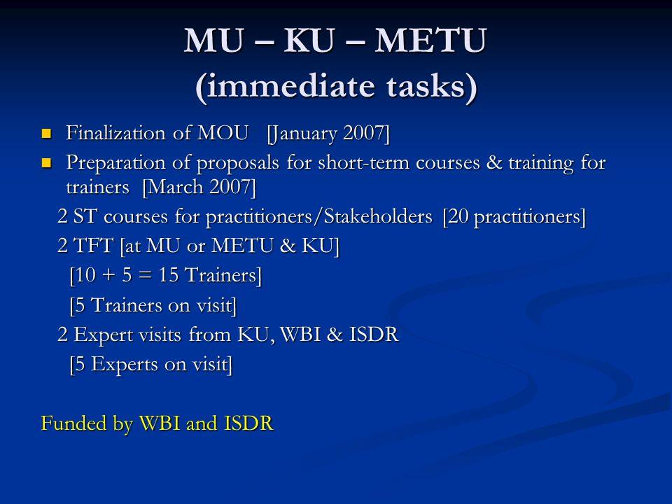 MU – KU – METU (immediate tasks) Finalization of MOU [January 2007] Finalization of MOU [January 2007] Preparation of proposals for short-term courses