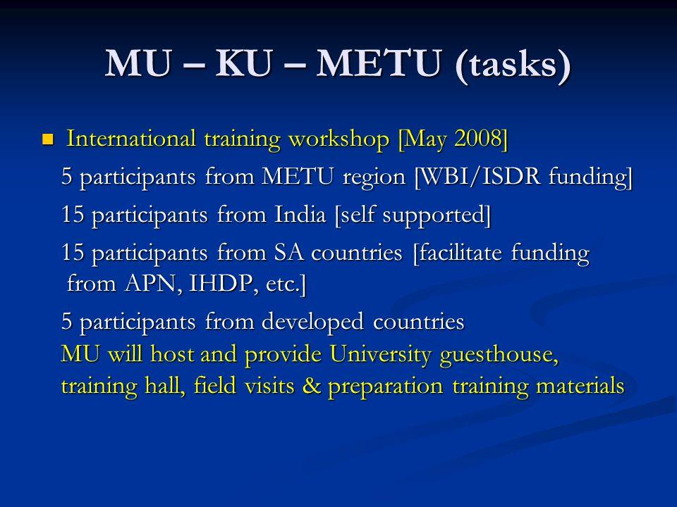 MU – KU – METU (tasks) International training workshop [May 2008] International training workshop [May 2008] 5 participants from METU region [WBI/ISDR