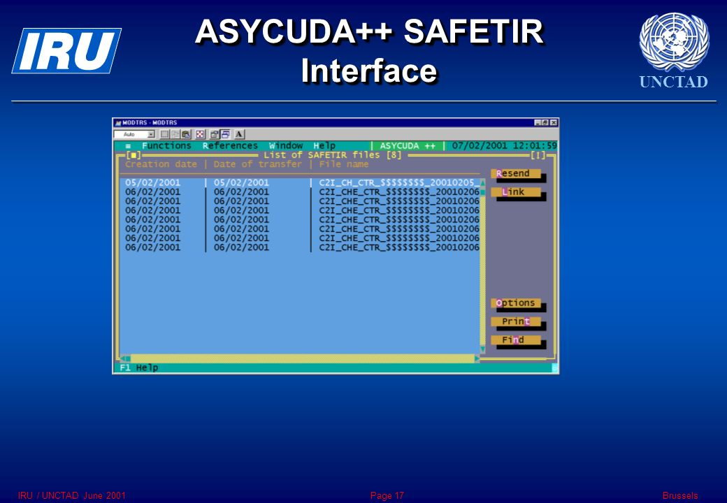 UNCTAD BrusselsIRU / UNCTAD June 2001Page 17 ASYCUDA++ SAFETIR Interface