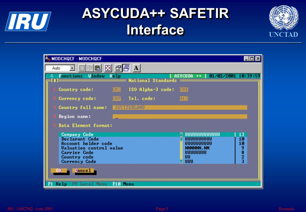UNCTAD BrusselsIRU / UNCTAD June 2001Page 5 ASYCUDA++ SAFETIR Interface