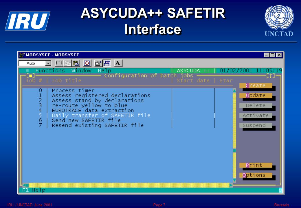 UNCTAD BrusselsIRU / UNCTAD June 2001Page 7 ASYCUDA++ SAFETIR Interface
