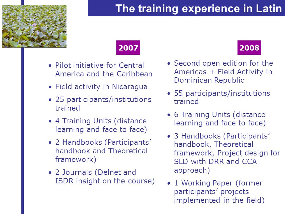 The training experience in Latin American 2007 Pilot initiative for Central America and the Caribbean Field activity in Nicaragua 25 participants/inst