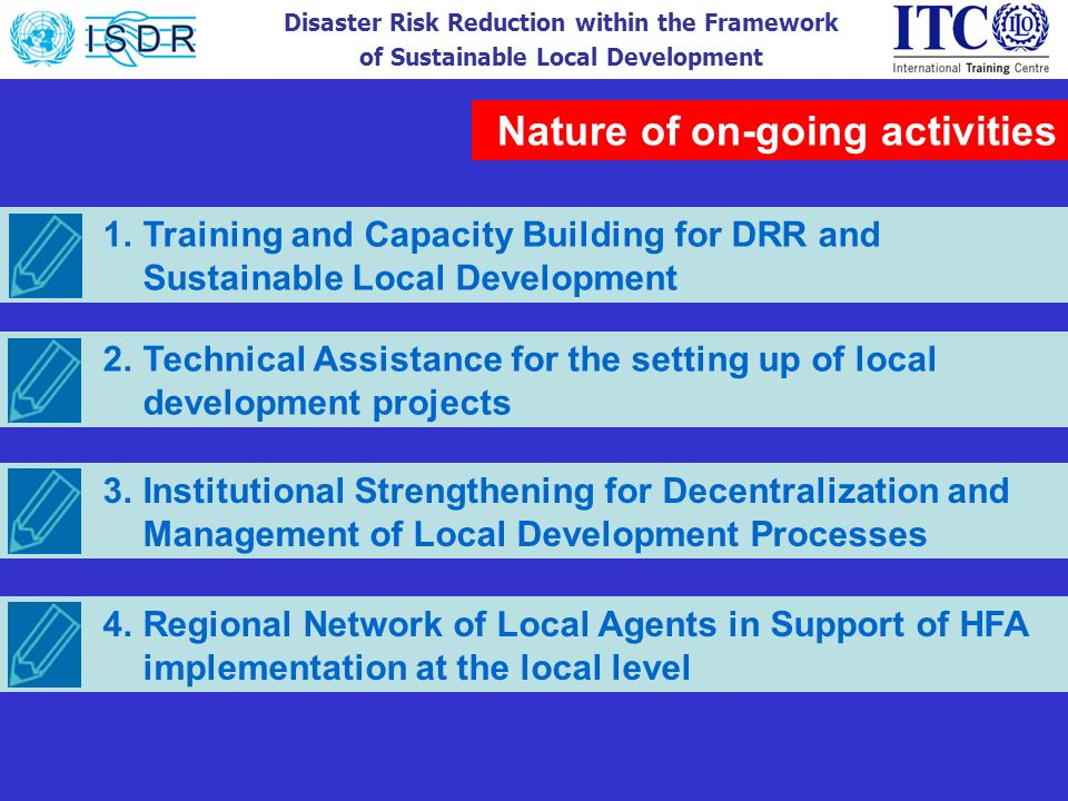 Disaster Risk Reduction within the Framework of Sustainable Local Development Nature of on-going activities 1.Training and Capacity Building for DRR a