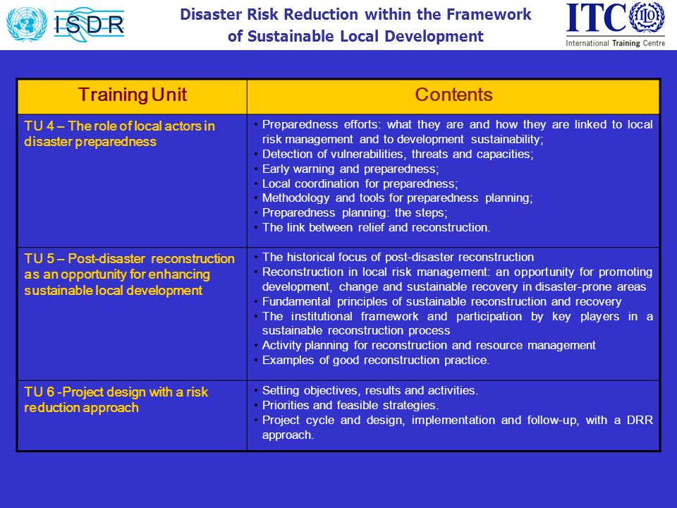 Disaster Risk Reduction within the Framework of Sustainable Local Development Training UnitContents TU 4 – The role of local actors in disaster prepar