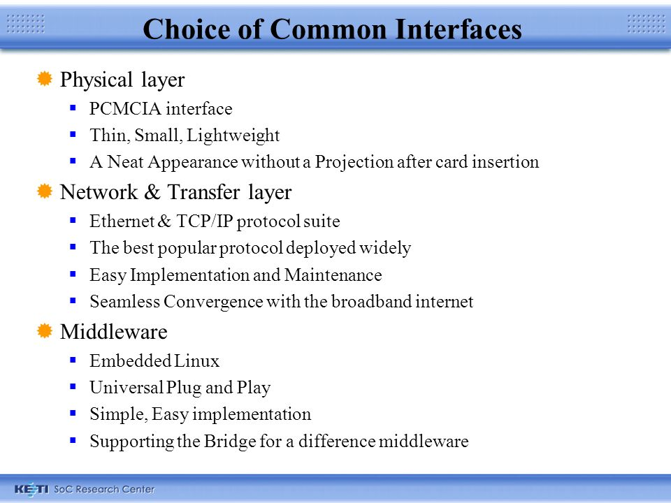 Choice of Common Interfaces Physical layer PCMCIA interface Thin, Small, Lightweight A Neat Appearance without a Projection after card insertion Network & Transfer layer Ethernet & TCP/IP protocol suite The best popular protocol deployed widely Easy Implementation and Maintenance Seamless Convergence with the broadband internet Middleware Embedded Linux Universal Plug and Play Simple, Easy implementation Supporting the Bridge for a difference middleware