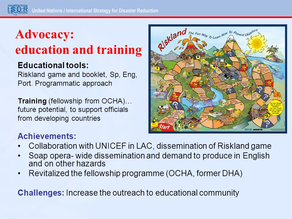 Advocacy: education and training Educational tools: Riskland game and booklet, Sp, Eng, Port.