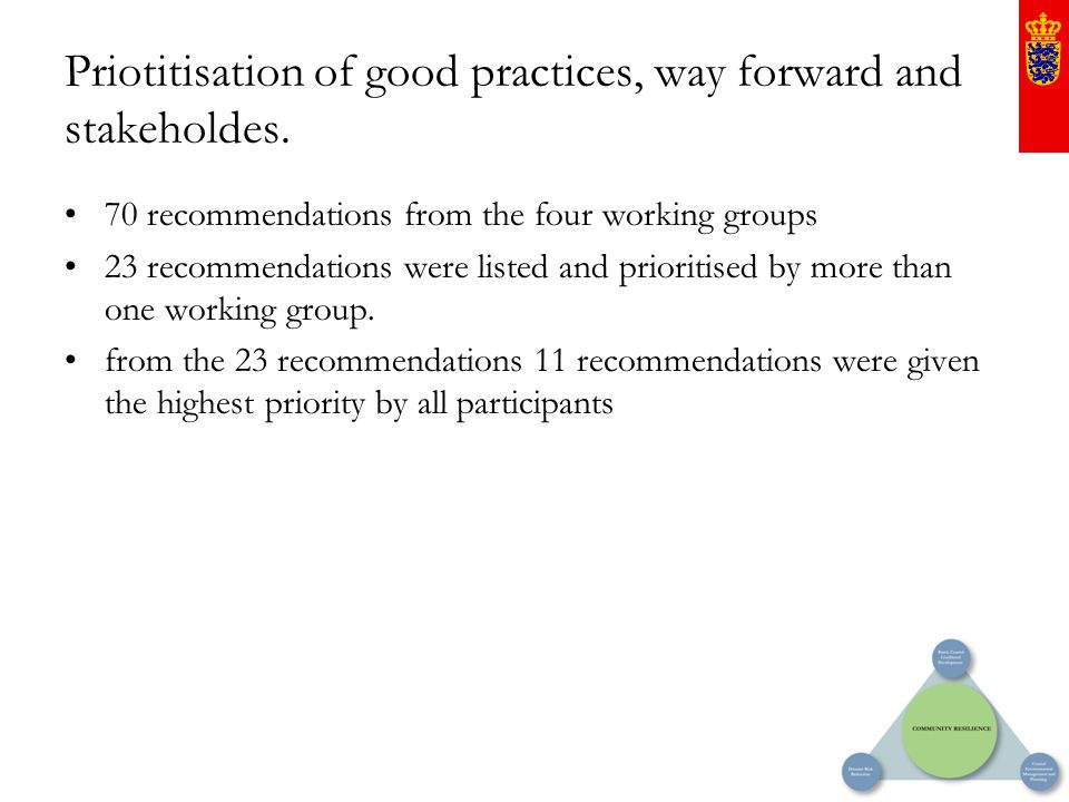 Priotitisation of good practices, way forward and stakeholdes. 70 recommendations from the four working groups 23 recommendations were listed and prio