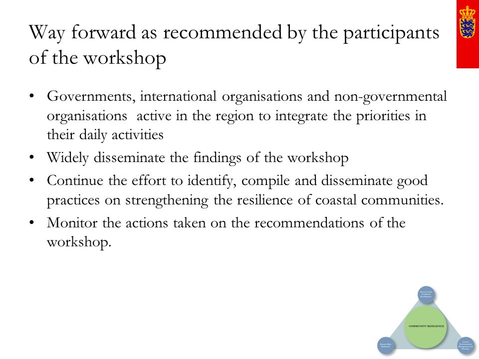 Way forward as recommended by the participants of the workshop Governments, international organisations and non-governmental organisations active in t