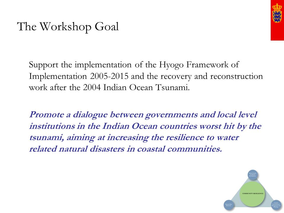 The Workshop Goal Support the implementation of the Hyogo Framework of Implementation 2005-2015 and the recovery and reconstruction work after the 200