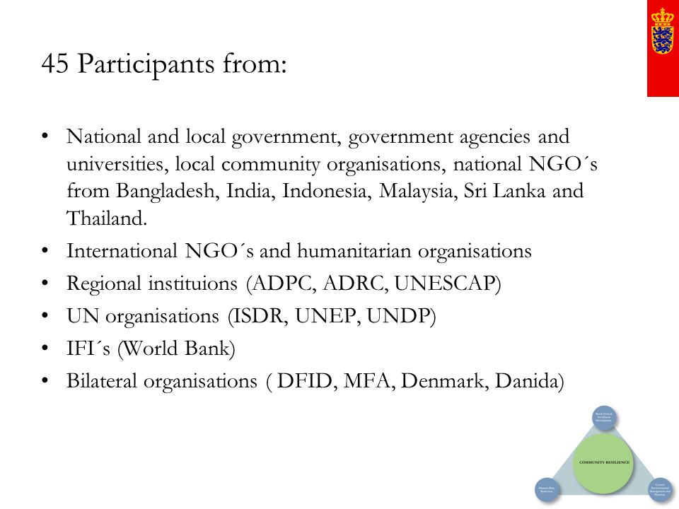 45 Participants from: National and local government, government agencies and universities, local community organisations, national NGO´s from Banglade