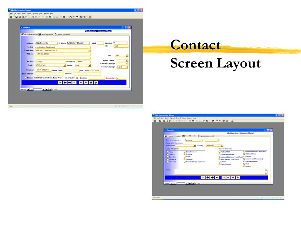 Contact Screen Layout