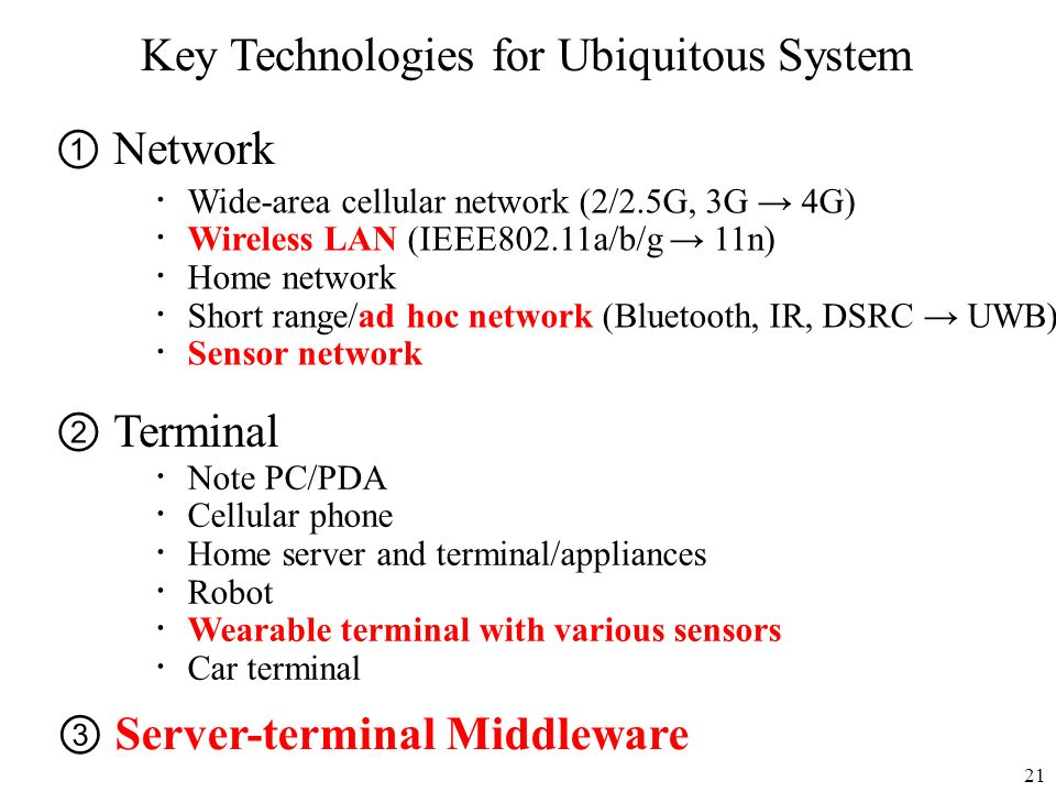 21 Key Technologies for Ubiquitous System Network Terminal Server-terminal Middleware Wide-area cellular network (2/2.5G, 3G 4G) Wireless LAN (IEEE802