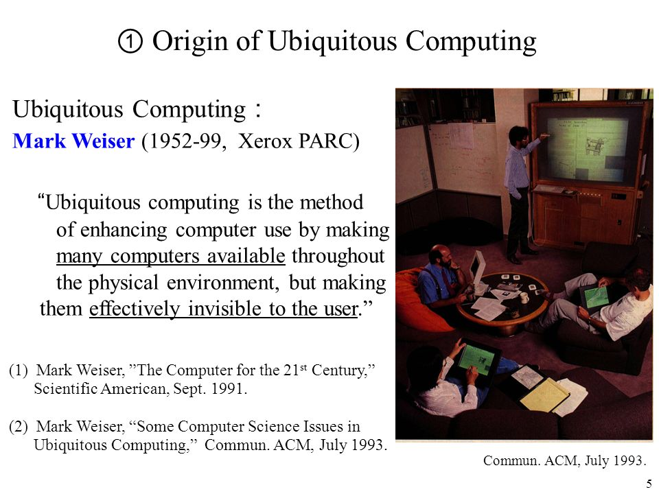 5 Ubiquitous Computing Mark Weiser (1952-99, Xerox PARC) Ubiquitous computing is the method of enhancing computer use by making many computers availab