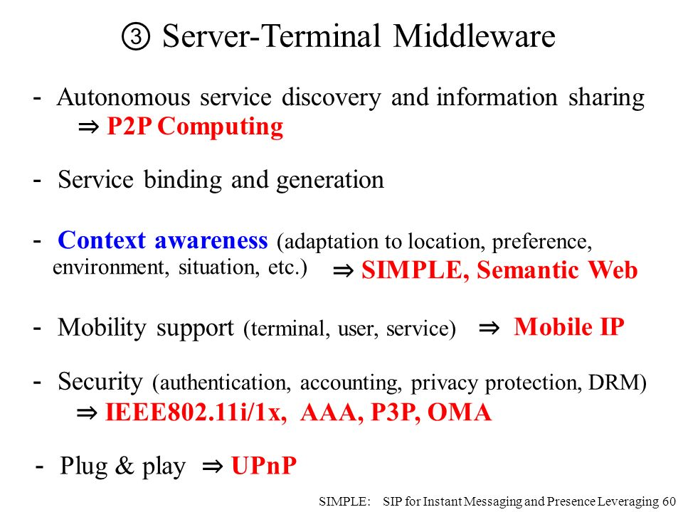 60 SIMPLE, Semantic Web Mobility support (terminal, user, service) Security (authentication, accounting, privacy protection, DRM) Mobile IP IEEE802.11