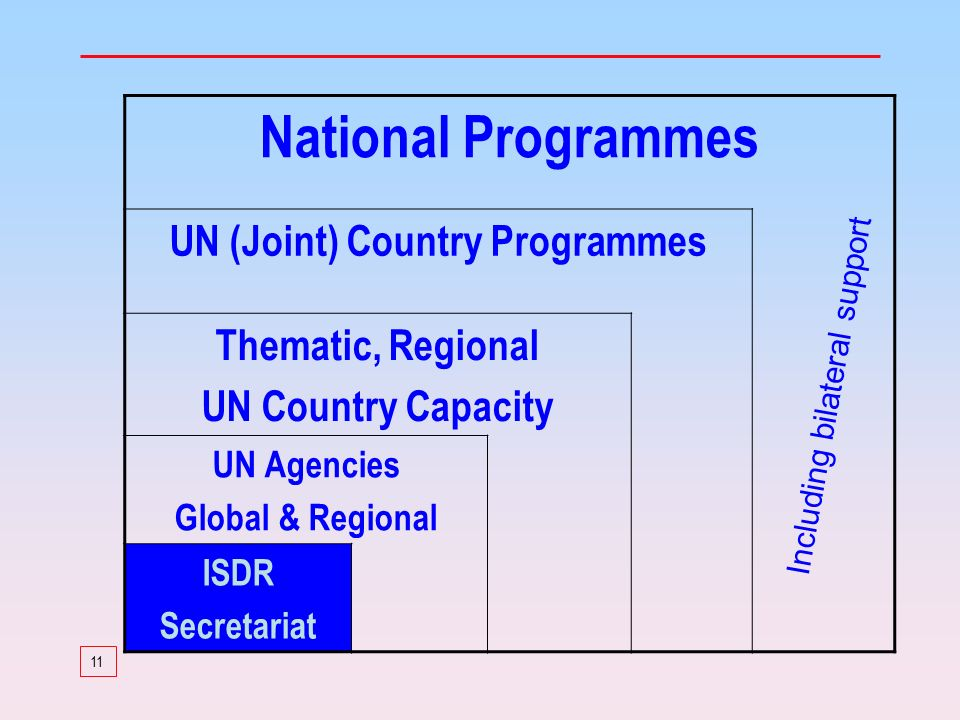11 National Programmes UN (Joint) Country Programmes Thematic, Regional UN Country Capacity UN Agencies Global & Regional ISDR Secretariat Including bilateral support