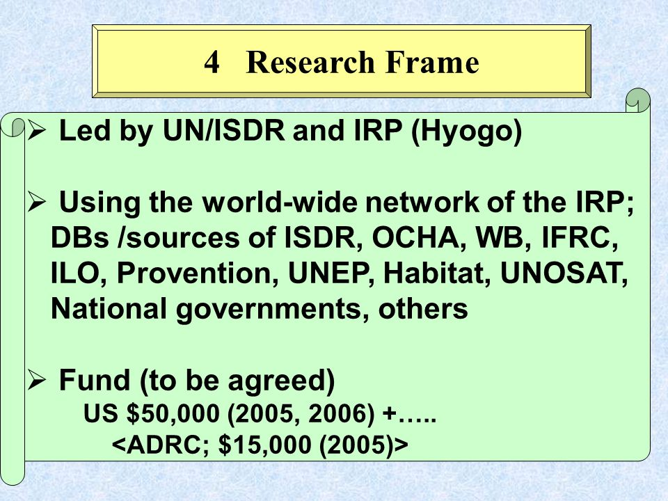 Led by UN/ISDR and IRP (Hyogo) Using the world-wide network of the IRP; DBs /sources of ISDR, OCHA, WB, IFRC, ILO, Provention, UNEP, Habitat, UNOSAT, National governments, others Fund (to be agreed) US $50,000 (2005, 2006) +…..