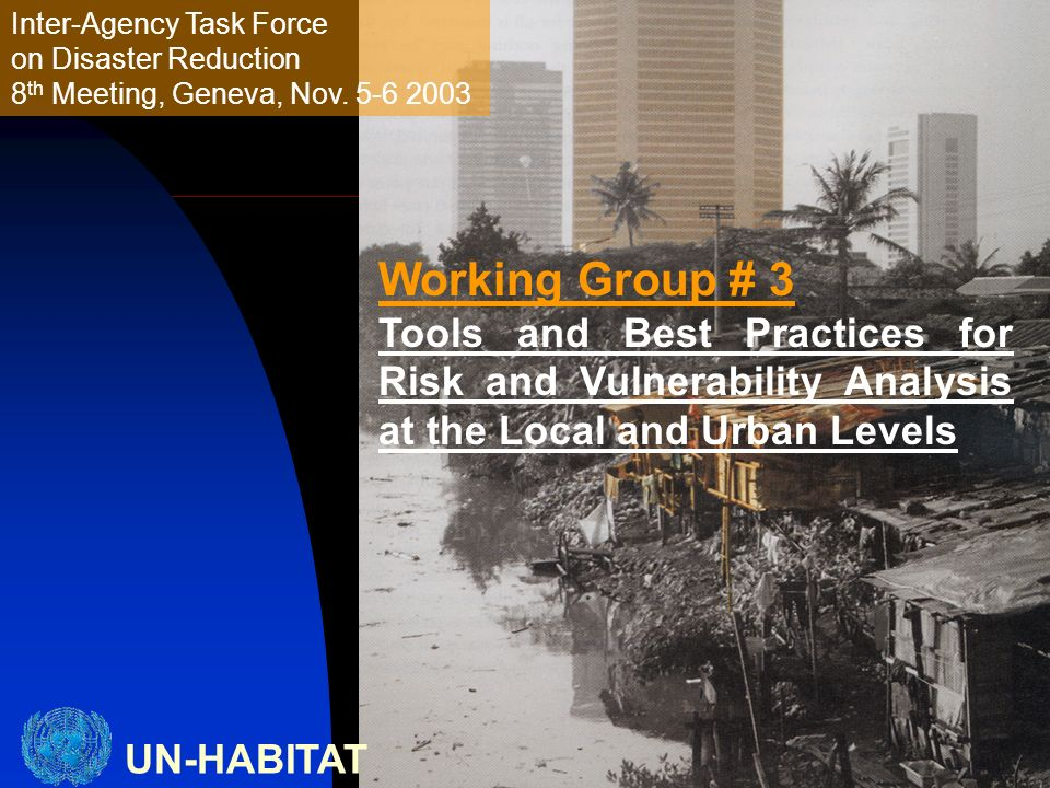 UN-HABITAT Inter-Agency Task Force on Disaster Reduction 8 th Meeting, Geneva, Nov. 5-6 2003 Working Group # 3 Tools and Best Practices for Risk and V