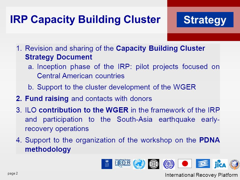 page 2 International Recovey Platform Strategy 1.Revision and sharing of the Capacity Building Cluster Strategy Document a.Inception phase of the IRP: pilot projects focused on Central American countries b.Support to the cluster development of the WGER 2.Fund raising and contacts with donors 3.ILO contribution to the WGER in the framework of the IRP and participation to the South-Asia earthquake early- recovery operations 4.Support to the organization of the workshop on the PDNA methodology IRP Capacity Building Cluster