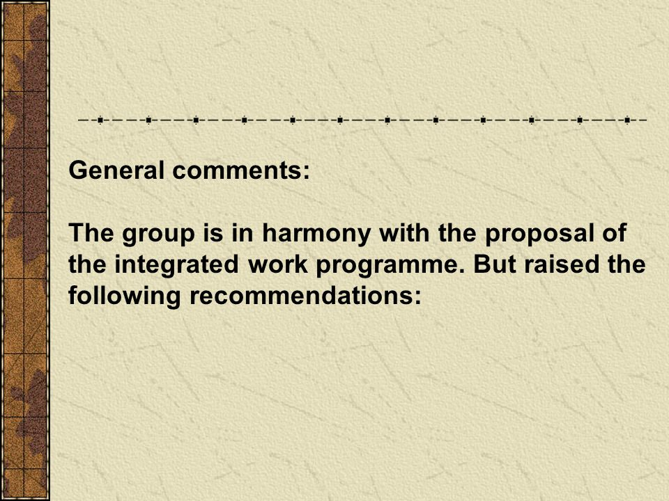 General comments: The group is in harmony with the proposal of the integrated work programme. But raised the following recommendations: