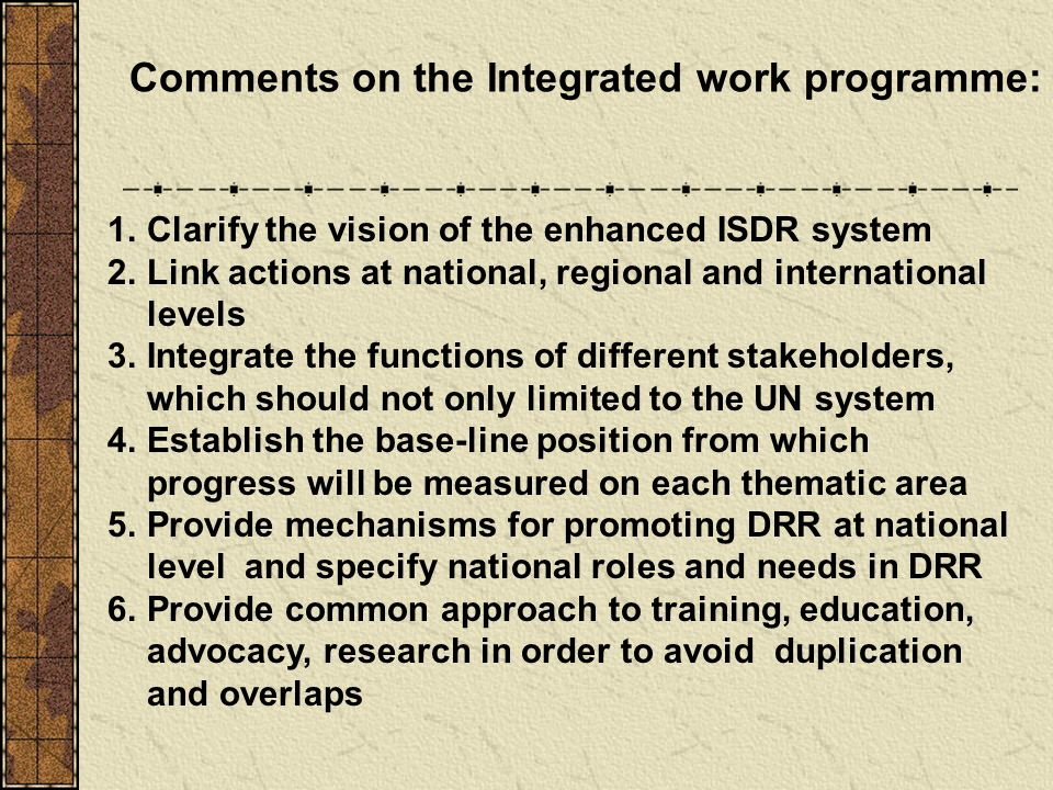 1.Clarify the vision of the enhanced ISDR system 2.Link actions at national, regional and international levels 3.Integrate the functions of different