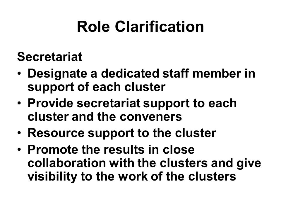 Role Clarification Secretariat Designate a dedicated staff member in support of each cluster Provide secretariat support to each cluster and the conveners Resource support to the cluster Promote the results in close collaboration with the clusters and give visibility to the work of the clusters