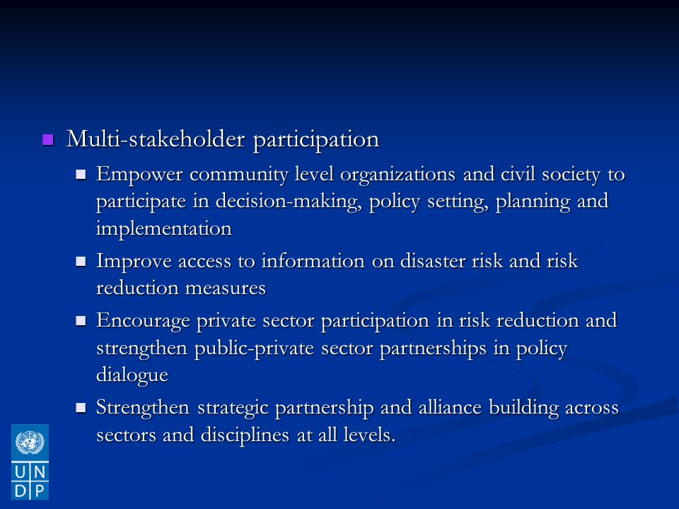 Multi-stakeholder participation Multi-stakeholder participation Empower community level organizations and civil society to participate in decision-making, policy setting, planning and implementation Empower community level organizations and civil society to participate in decision-making, policy setting, planning and implementation Improve access to information on disaster risk and risk reduction measures Improve access to information on disaster risk and risk reduction measures Encourage private sector participation in risk reduction and strengthen public-private sector partnerships in policy dialogue Encourage private sector participation in risk reduction and strengthen public-private sector partnerships in policy dialogue Strengthen strategic partnership and alliance building across sectors and disciplines at all levels.