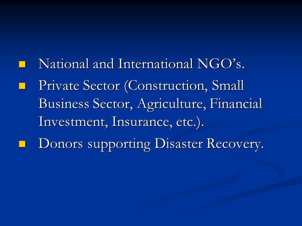 National and International NGOs. National and International NGOs.