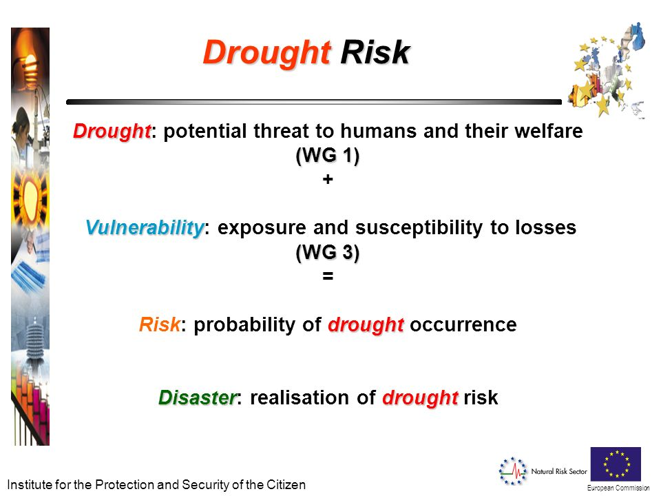 European Commission Institute for the Protection and Security of the Citizen Drought Risk Drought (WG 1) Vulnerability (WG 3) drought Disasterdrought Drought: potential threat to humans and their welfare (WG 1) + Vulnerability: exposure and susceptibility to losses (WG 3) = Risk: probability of drought occurrence Disaster: realisation of drought risk