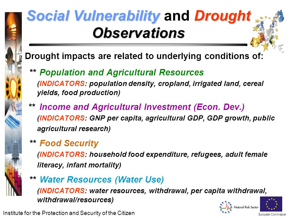 European Commission Institute for the Protection and Security of the Citizen Social VulnerabilityDrought Social Vulnerability and DroughtObservations Drought impacts are related to underlying conditions of: ** Population and Agricultural Resources (INDICATORS: population density, cropland, irrigated land, cereal yields, food production) ** Income and Agricultural Investment (Econ.