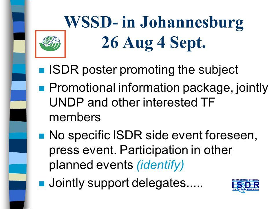 WSSD- in Johannesburg 26 Aug 4 Sept.