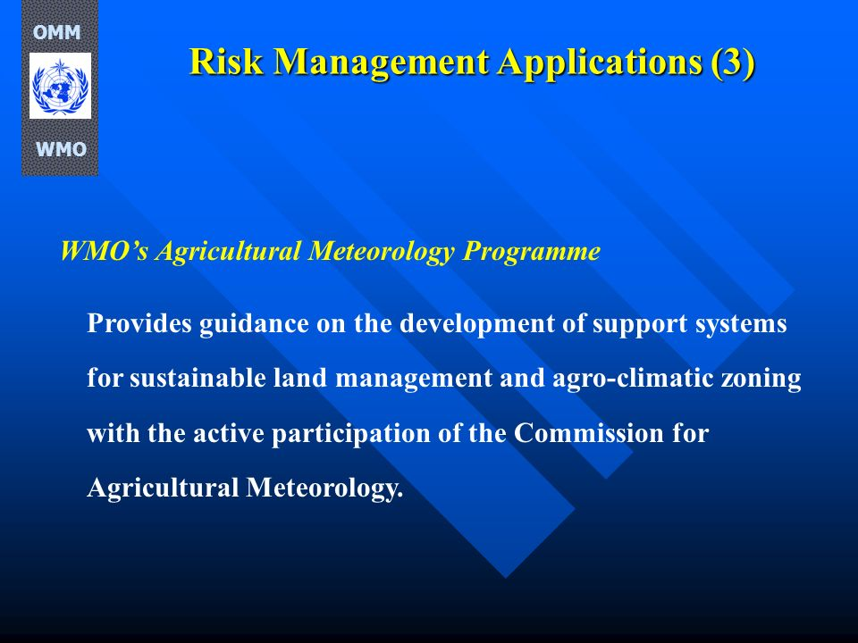 Risk Management Applications (3) WMOs Agricultural Meteorology Programme Provides guidance on the development of support systems for sustainable land