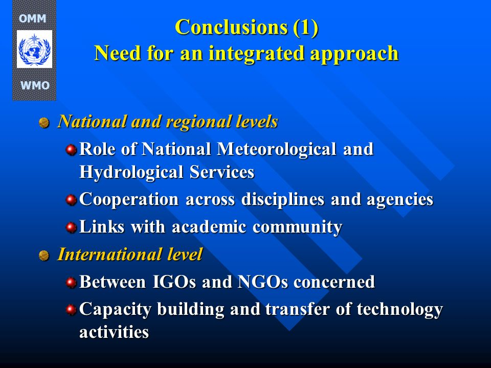 Conclusions (1) Need for an integrated approach National and regional levels Role of National Meteorological and Hydrological Services Cooperation acr