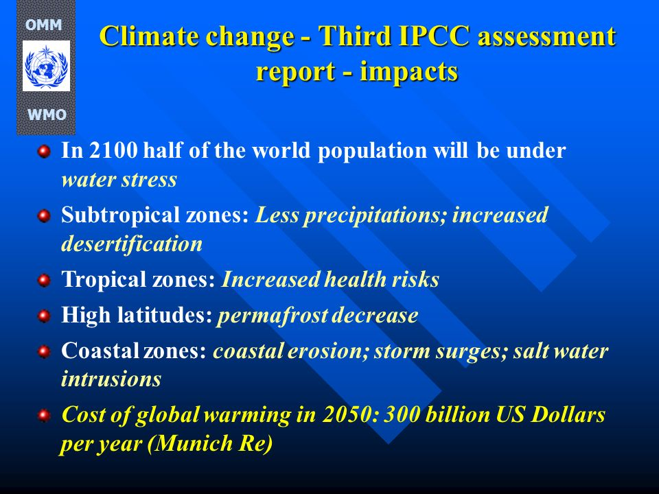 Climate change - Third IPCC assessment report - impacts In 2100 half of the world population will be under water stress Subtropical zones: Less precip