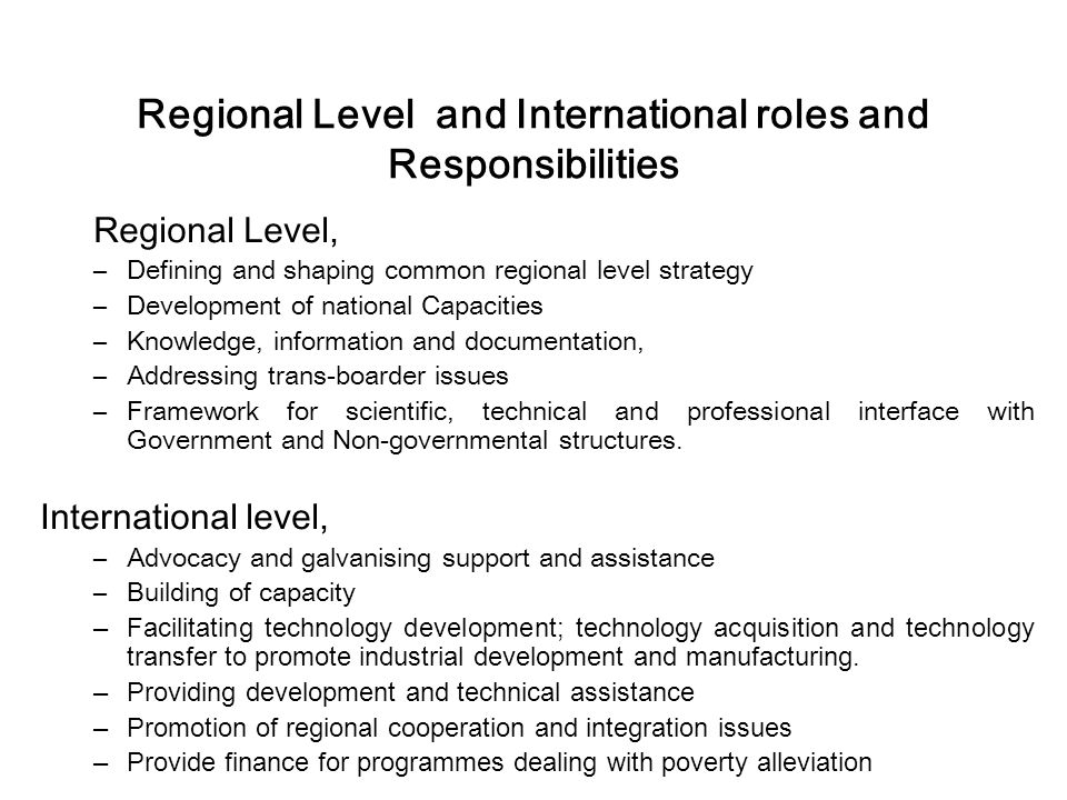 Regional Level and International roles and Responsibilities Regional Level, –Defining and shaping common regional level strategy –Development of natio