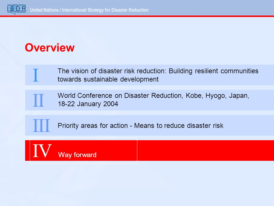 Overview I The vision of disaster risk reduction: Building resilient communities towards sustainable development II World Conference on Disaster Reduction, Kobe, Hyogo, Japan, 18-22 January 2004 III Priority areas for action - Means to reduce disaster risk IV Way forward