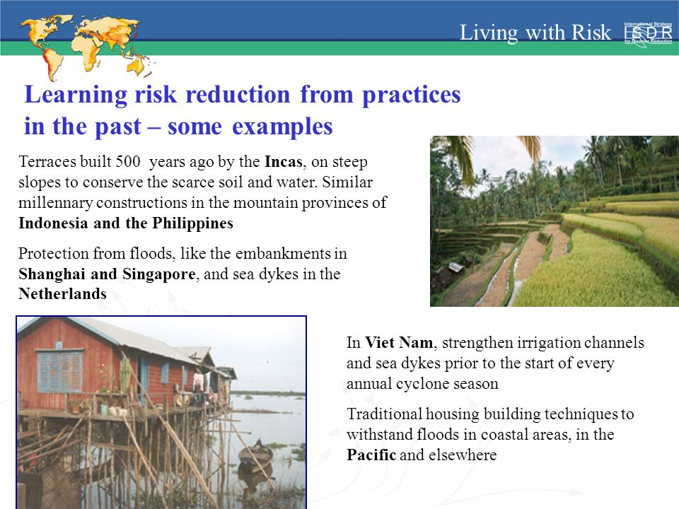 Living with Risk Learning risk reduction from practices in the past – some examples Terraces built 500 years ago by the Incas, on steep slopes to cons