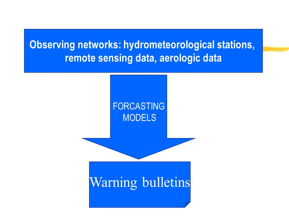 Observing networks: hydrometeorological stations, remote sensing data, aerologic data FORCASTING MODELS Warning bulletins