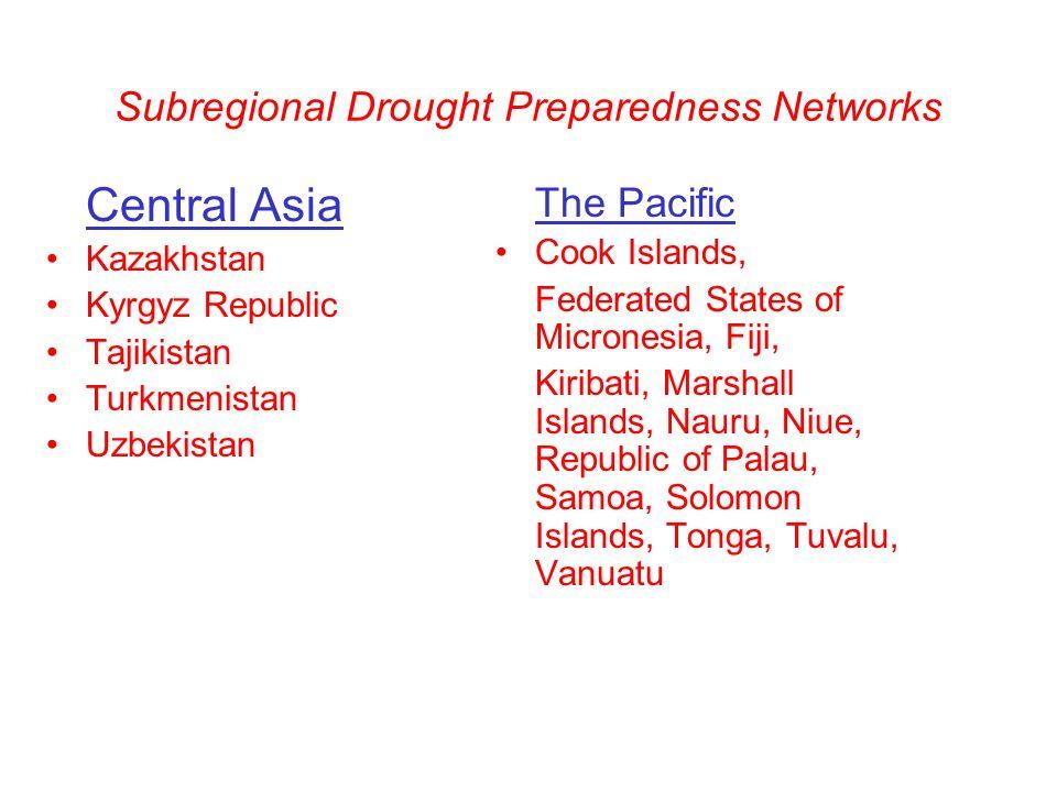 Subregional Drought Preparedness Networks Central Asia Kazakhstan Kyrgyz Republic Tajikistan Turkmenistan Uzbekistan The Pacific Cook Islands, Federated States of Micronesia, Fiji, Kiribati, Marshall Islands, Nauru, Niue, Republic of Palau, Samoa, Solomon Islands, Tonga, Tuvalu, Vanuatu