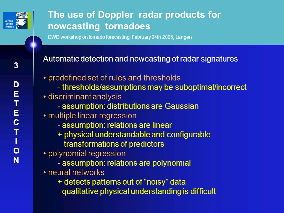 The use of Doppler radar products for nowcasting tornadoes DWD workshop on tornado forecasting, February 24th 2005, Langen Automatic detection and now