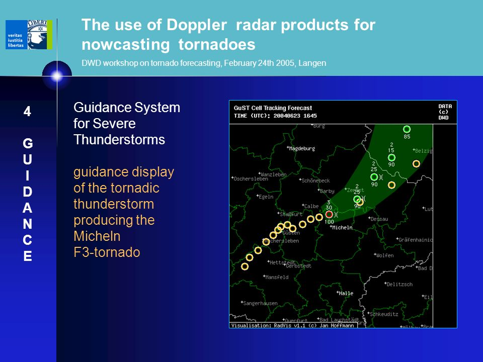 The use of Doppler radar products for nowcasting tornadoes DWD workshop on tornado forecasting, February 24th 2005, Langen Guidance System for Severe