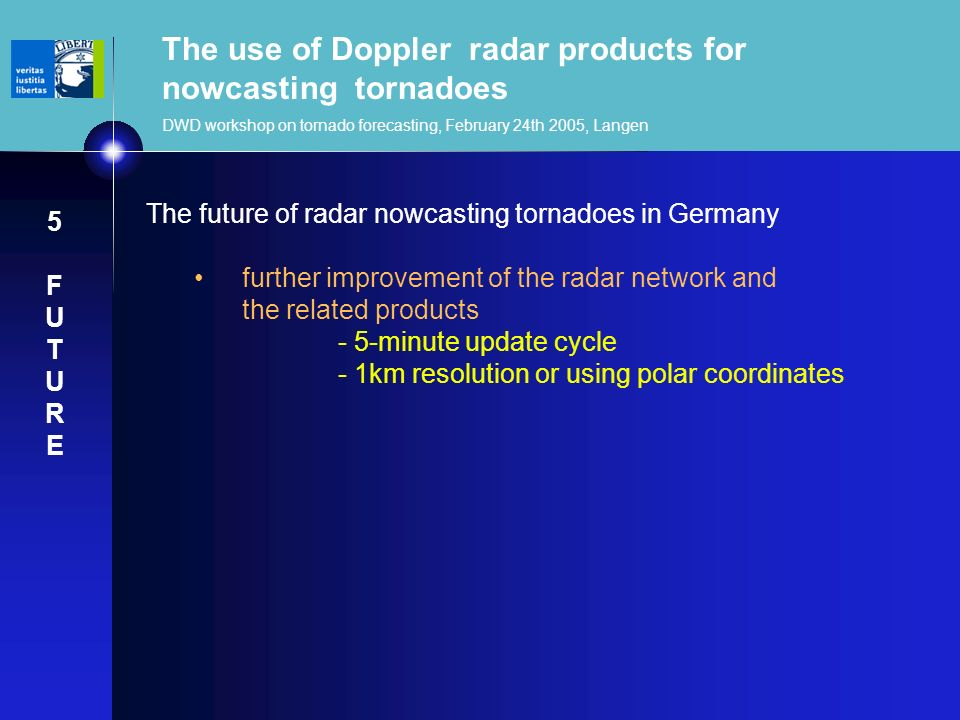 The use of Doppler radar products for nowcasting tornadoes DWD workshop on tornado forecasting, February 24th 2005, Langen The future of radar nowcast