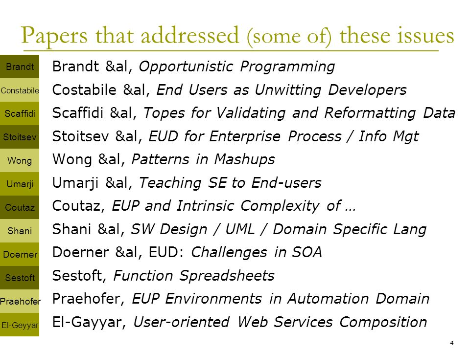 4 Papers that addressed (some of) these issues Brandt &al, Opportunistic Programming Costabile &al, End Users as Unwitting Developers Scaffidi &al, Topes for Validating and Reformatting Data Stoitsev &al, EUD for Enterprise Process / Info Mgt Wong &al, Patterns in Mashups Umarji &al, Teaching SE to End-users Coutaz, EUP and Intrinsic Complexity of … Shani &al, SW Design / UML / Domain Specific Lang Doerner &al, EUD: Challenges in SOA Sestoft, Function Spreadsheets Praehofer, EUP Environments in Automation Domain El-Gayyar, User-oriented Web Services Composition Brandt Constabile Scaffidi Sestoft Praehofer El-Geyyar Coutaz Shani Doerner Stoitsev Wong Umarji