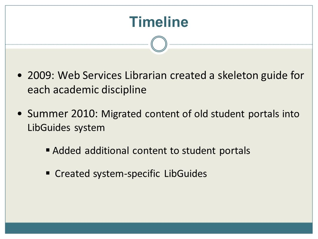 Timeline 2009: Web Services Librarian created a skeleton guide for each academic discipline Summer 2010: Migrated content of old student portals into