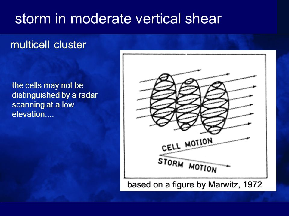 storm in moderate vertical shear multicell cluster the cells may not be distinguished by a radar scanning at a low elevation....