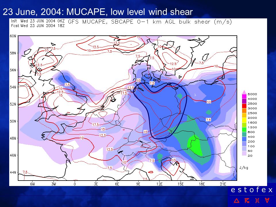 23 June, 2004: MUCAPE, low level wind shear