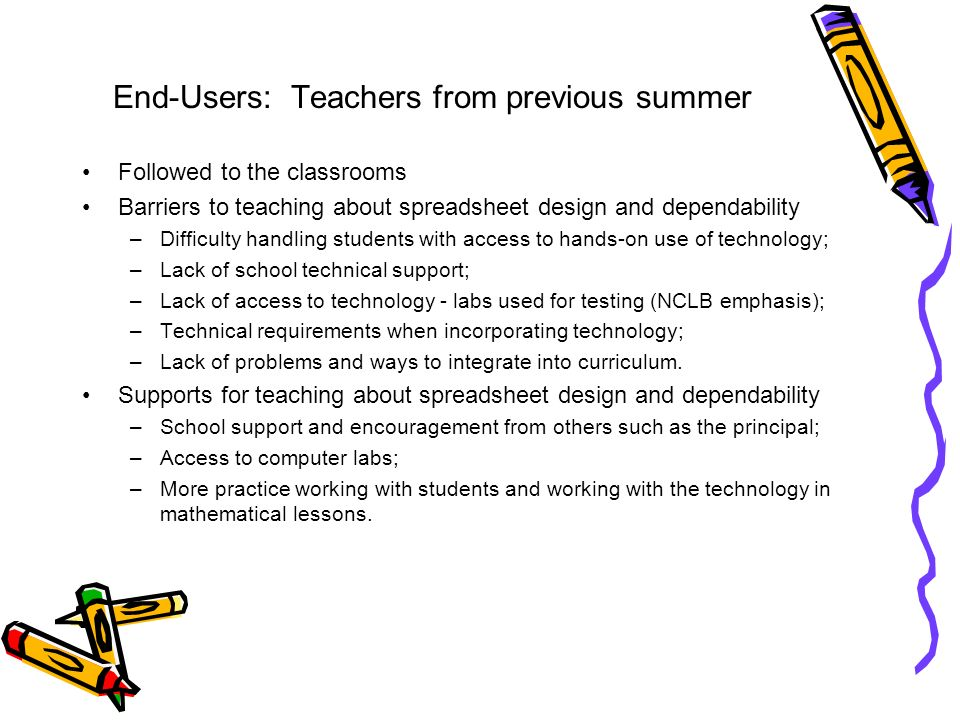 End-Users: Teachers from previous summer Followed to the classrooms Barriers to teaching about spreadsheet design and dependability –Difficulty handli