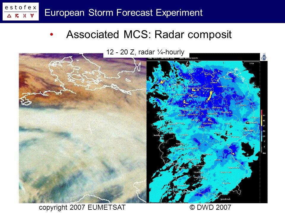 European Storm Forecast Experiment Associated MCS: Radar composit copyright 2007 EUMETSAT© DWD 2007 18 Z
