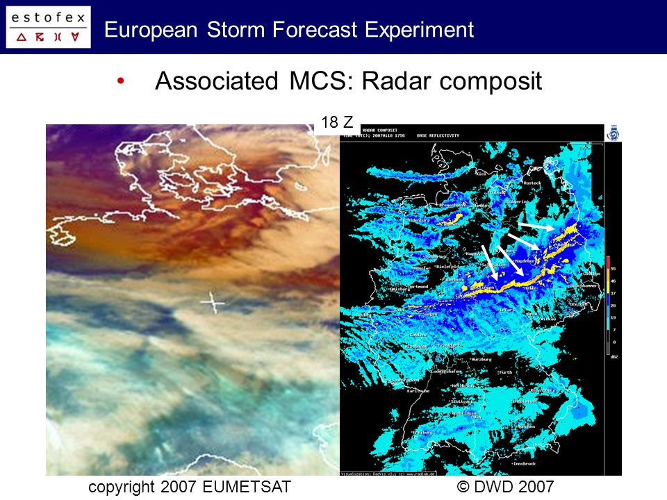 European Storm Forecast Experiment Associated MCS: Cold pool evolution LMK, surface observations © DWD 2007 16 - 20 Z